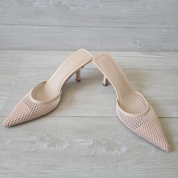 Zara Mesh Nude Pointy Toe Slides Mules Sandals
